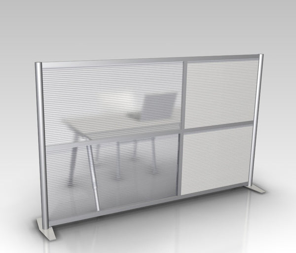 84 wide x 51 high office partition white translucent