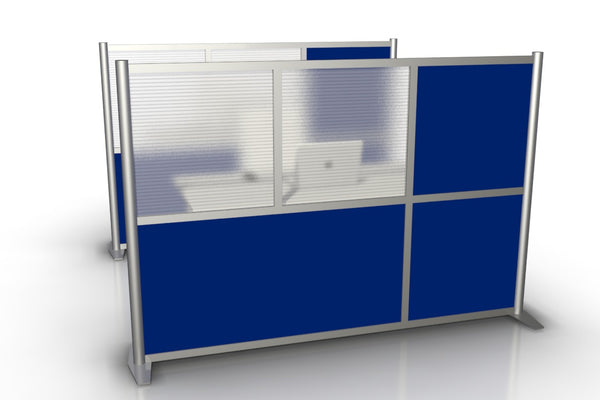 "75"" wide x 51"" h Modern Office Partition - Blue & Translucent Panels"
