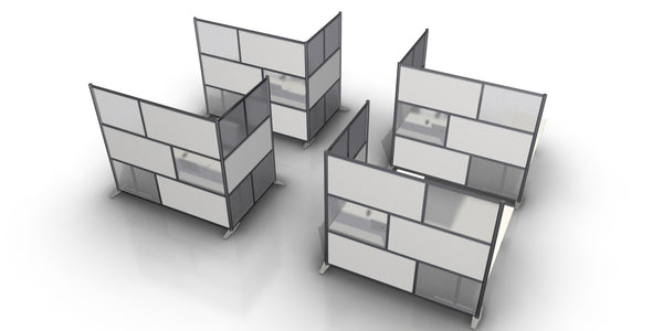 "L-Shaped Office Partitions 84"" x 51"" x 75"" tall"
