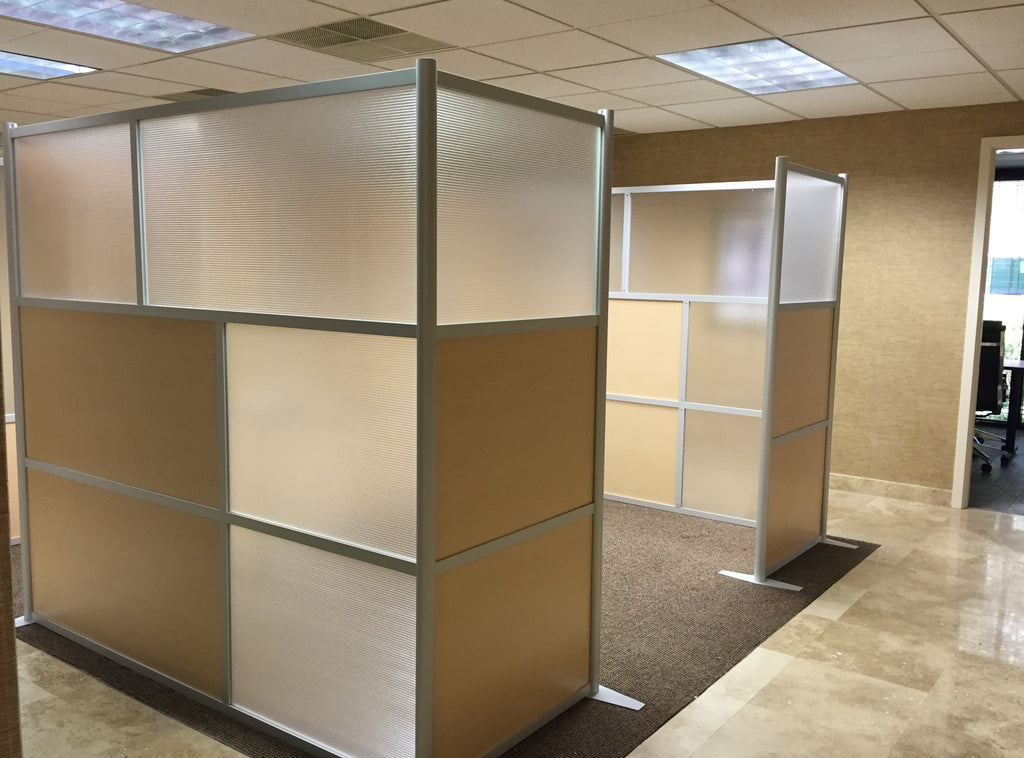 Modern Office Partitions with maple & translucent panels at PAC Land Development