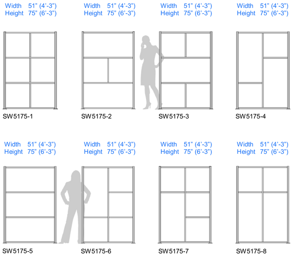 Modern Modular Office Partitioning System Sizes Chart