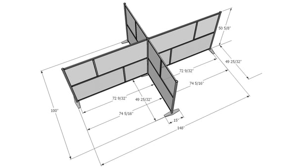 T-Shaped office partitions for cubicles