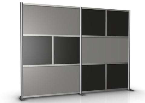 100 inch wide Modern Room Partition with Gray & Black Panels
