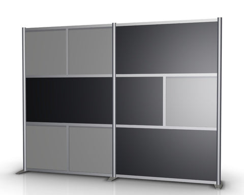 100 inch wide Modern Office Partition with Gray & Black Panels