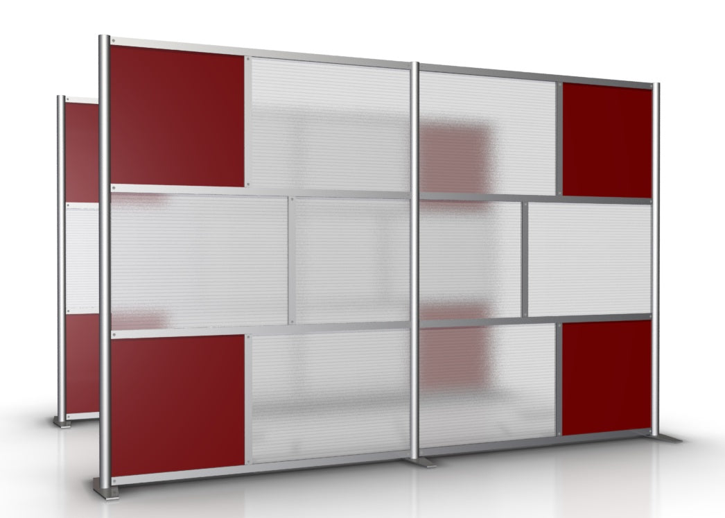 118 wide x 75 high Office Room Partition Red Translucent Panels