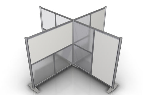 T-Shaped Quad Workstations Office Partitions 100