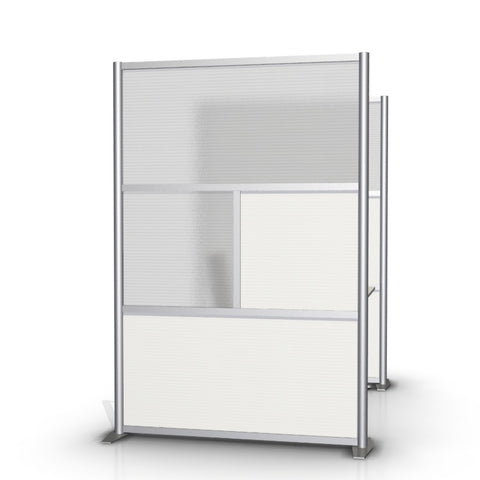 Modern Office Partition 51 inch wide by 75 inch high model # SW5175-2, White & Translucent