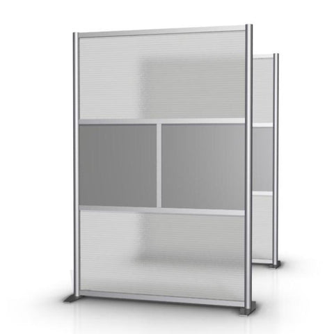 Modern Office Partition 51 inch wide by 75 inch high model # SW5175-2, Gray & Translucent