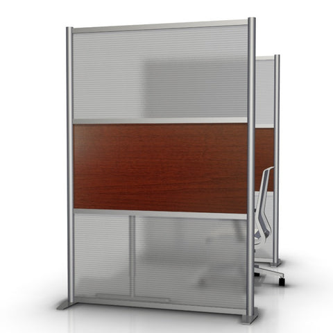 Modern Room Divider & Office Partition SW5175-5, Cherry & Translucent