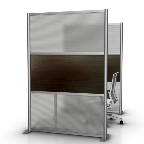 Modern Room Divider & Office Partition SW5175-5, Dark Brown Wood & Translucent