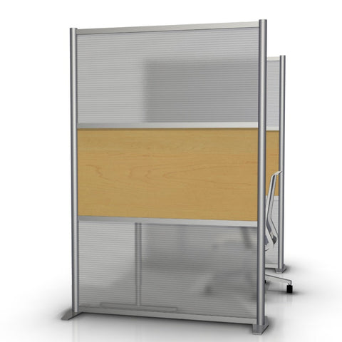 Modern Room Divider & Office Partition SW5175-5, Maple & Translucent