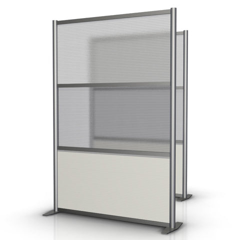 Modern Office Partition 51 inch wide by 75 inch high model # SW5175-5, White & Translucent