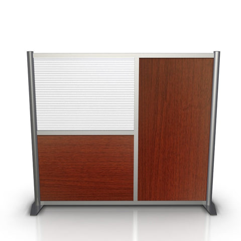 60 inch wide by 51 inch high Office Partition - Cherry & Translucent Panels