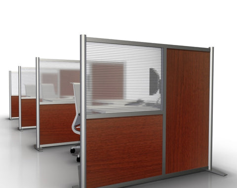 Cherry Wood Grain & Hammered Freeze Office Partition