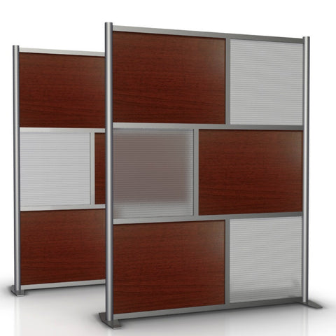 60 inch wide by 75 inch high Office Divider SW6075-2, Cherry Wood Grain & Translucent