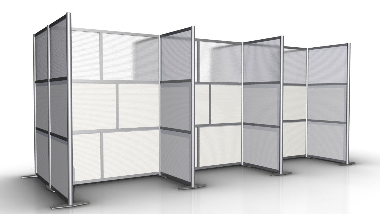 6 Workstation Cubicles 174 Long X 68 Depth X 75 High Office Partition Translucent White