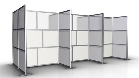 6 Workstations Office Partitions Configuration White & Translucent