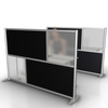 low height office desk divider partition with black panels