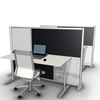 low height office desk divider partition with black & translucent panels