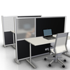 51 inch height office desk divider partition with black panels