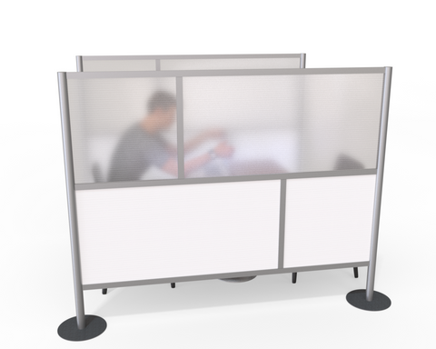 Room Divider Partition, White & Translucent -  75