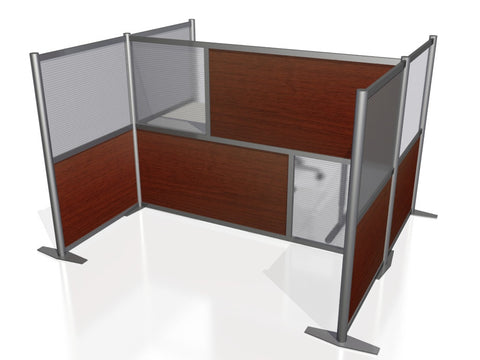 H-Shaped Office Partition with Cherry Wood Grain & Translucent Panels