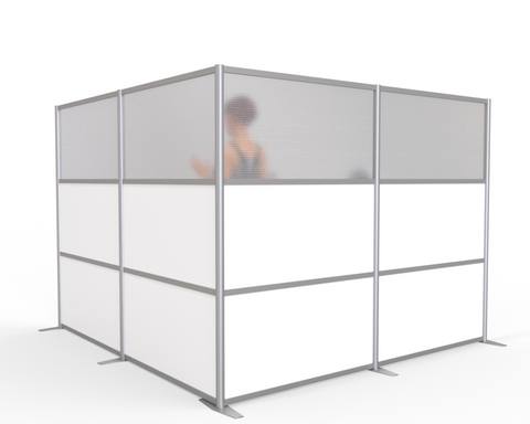 modern room partition L-Shaped Cubicle for healthcare, medical, restaurants, offices, gyms, work spaces