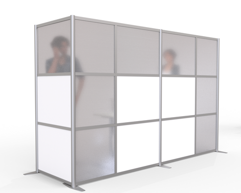 L-Shaped Office Partitions for Cubicles with Translucent Panels