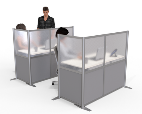 L-Shaped Desk Divider Office Partition with gray panels