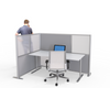 L-Shaped office cubicle partition gray panels
