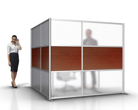 L-Shaped Office Partitions for Cubicles with Cherry Wood Grain & Translucent Panels
