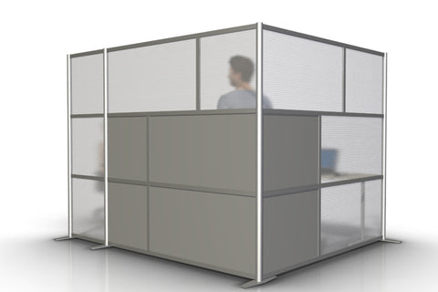 L-Shaped Office Partitions for Cubicles with Gray & Translucent Panels