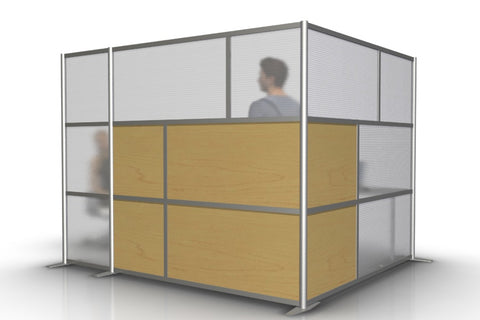 L-Shaped Office Partitions for Cubicles with Maple & Translucent Panels