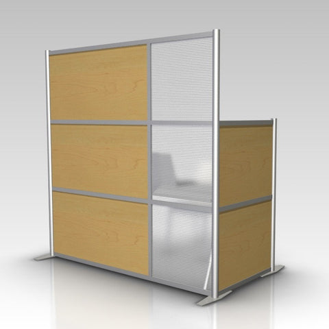 Modern Office Partition, Maple & Translucent