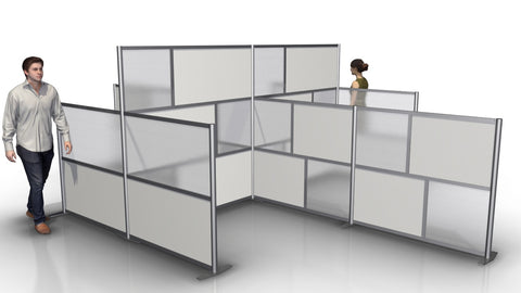 Office Cubicle Configuration for 4 Work Spaces
