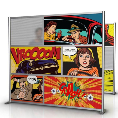 Retro Vintage Comic Book Art Office Partition with printed art on panels