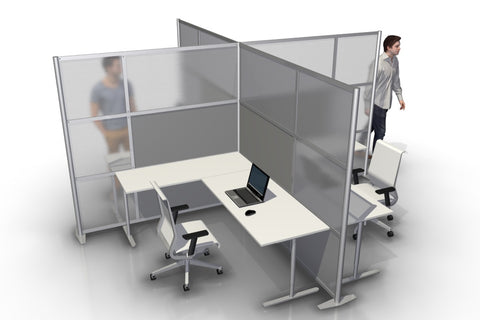 Quad T-Shaped Office Partition with Gray and Translucent Panels