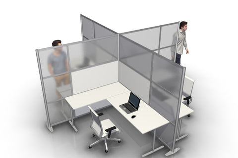 Quad T-Shaped Office Partition with White and Translucent Panels