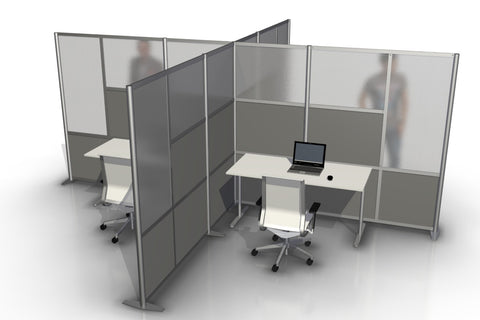 T-Shaped Office Desk Divider Partition for 4 workstations with Gray & Translucent Panels