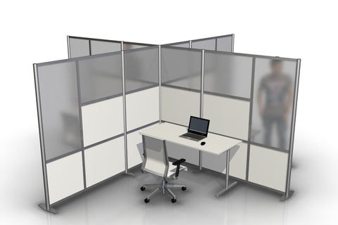 T-Shaped Office Desk Divider Partition for 4 workstations