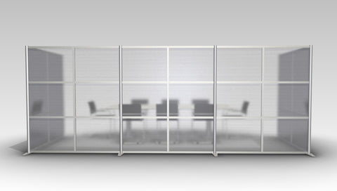 U-Shaped Office Partition Wall, Translucent Panels