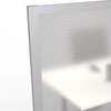 Office partition panel detail photo of translucent panels and aluminum frame