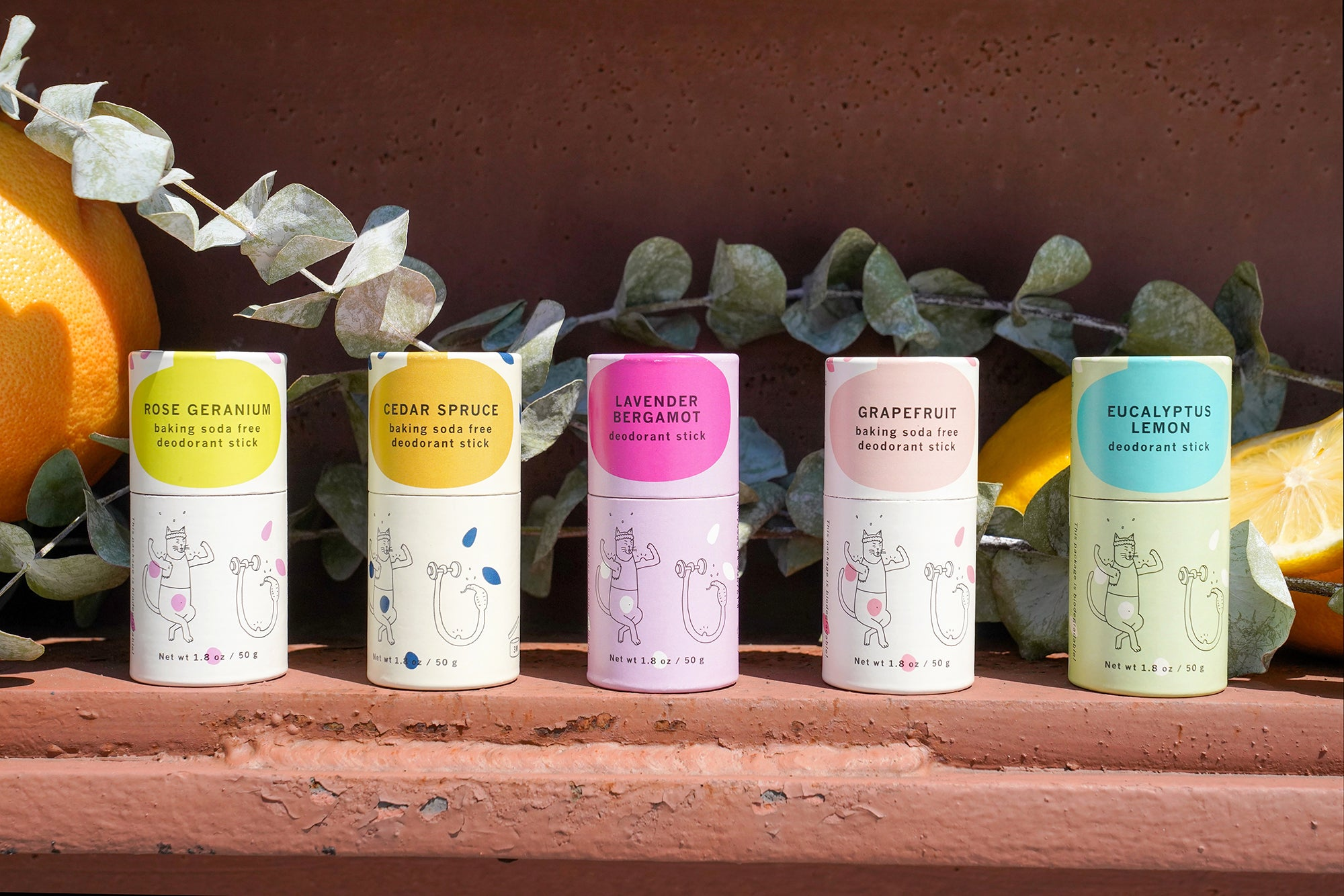 Meow Meow Tweet's 5 deodorant sticks lined up neatly next to one another sit on a clay-colored shelf with peeling paint. There's a stalk of eucalyptus behind them and an orange in the background of the leftmost edge.