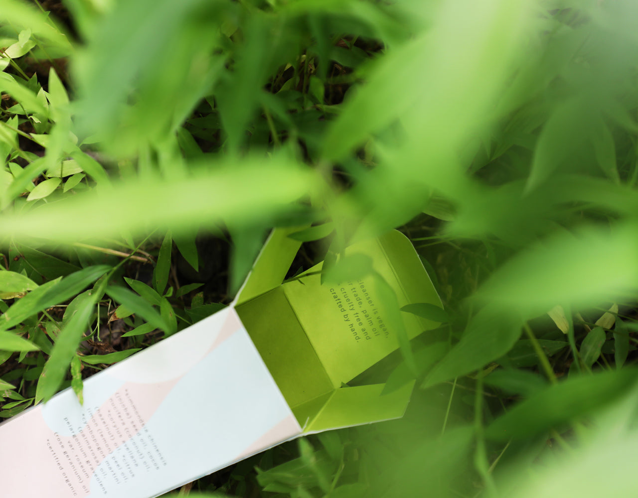 an open product box in the grass