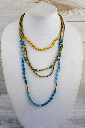 Recycled Paper Bead Necklace - Blue & Yellow
