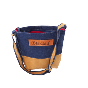 Fabric & Leather Crossbody Bag - Navy Blessed