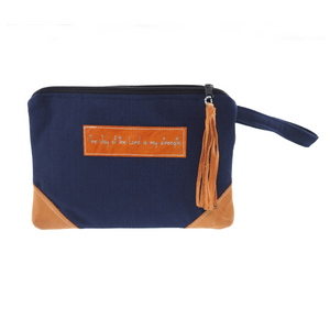 Leather Wristlet Clutch - The Joy of the Lord is my strength