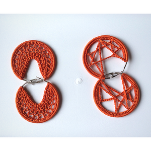 Thread earrings - Orange