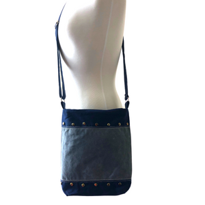 Handwoven Crossbody Purse - Navy & Grey
