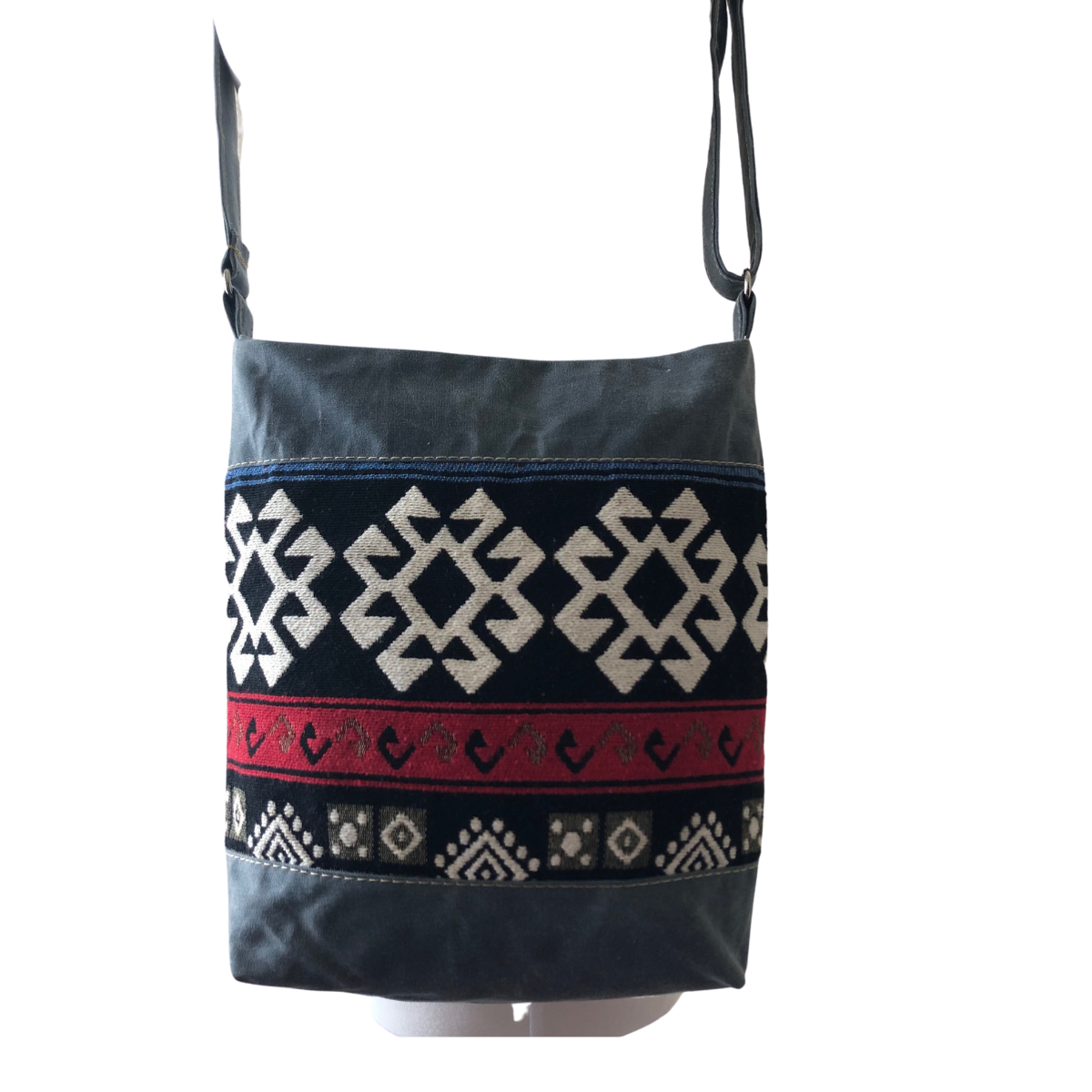 Handwoven Crossbody Purse - Grey, Red, Black and White